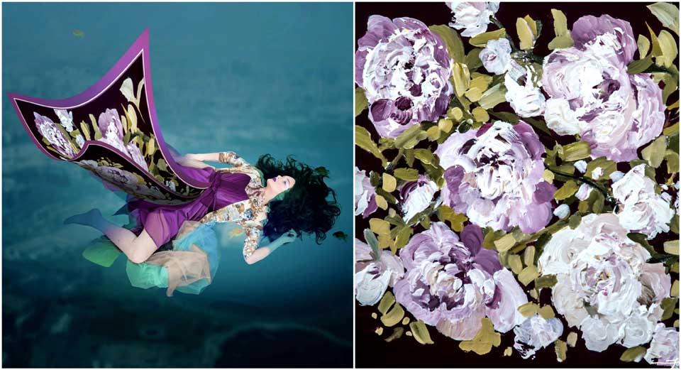 """Tablourile cu flori ale lui Fuego, inspirație pentru fashion. S-au transformat într-o colecție de eșarfe """"premium""""."""
